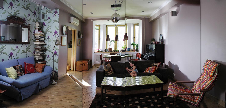гостиная, обои cole&son, диван arketipo