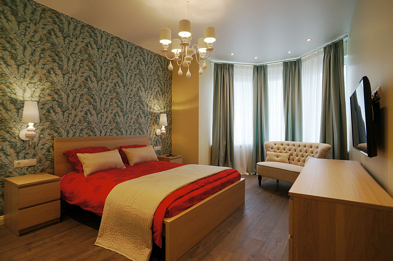 спальня ikea, обои cole&son, диван lehome